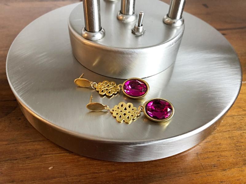 Sieradenset goud met swarovski fuchsi roze