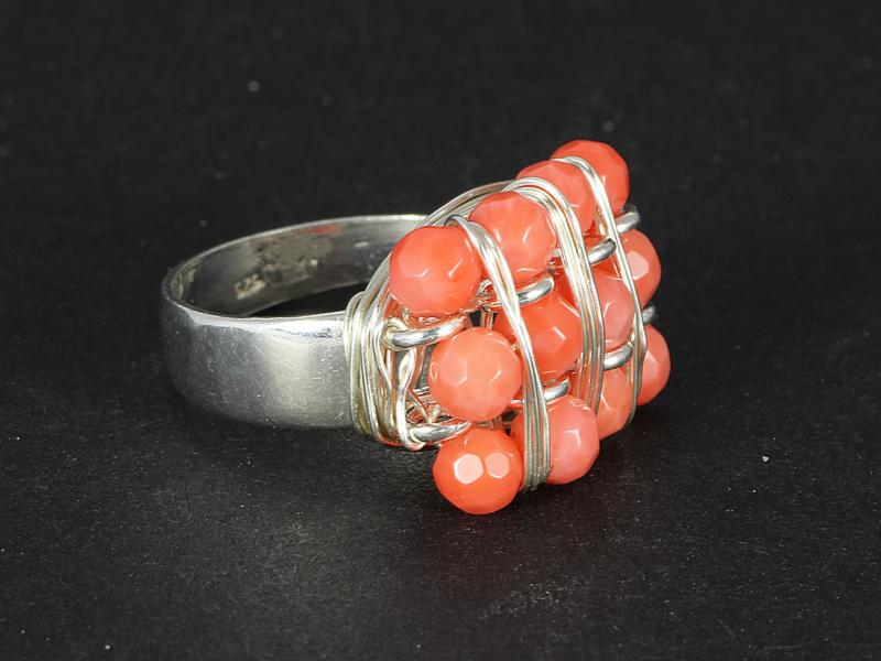 ring zilver en koraal