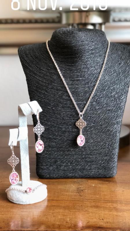 sieradenset zilver met swarovski roze