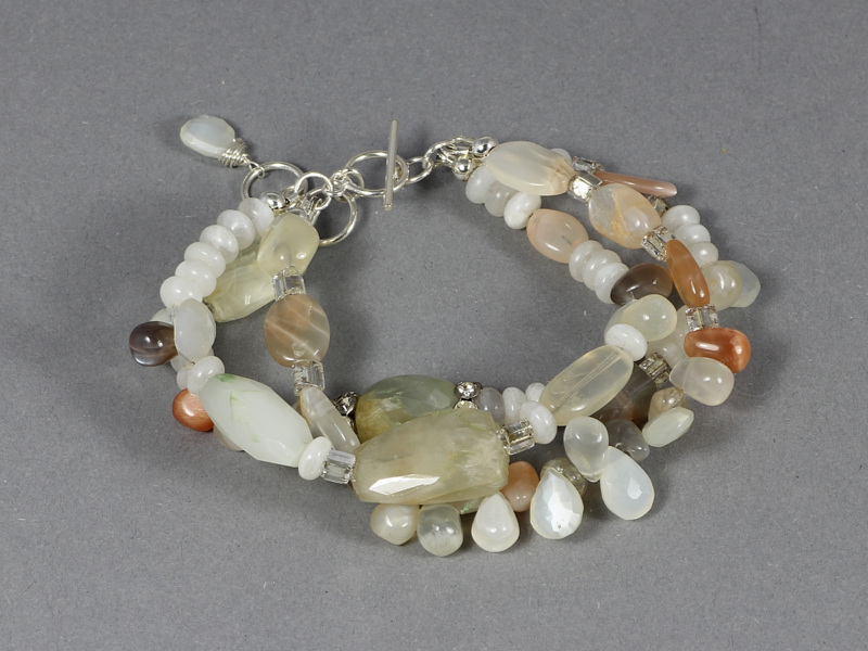 armband met maansteen en zilver