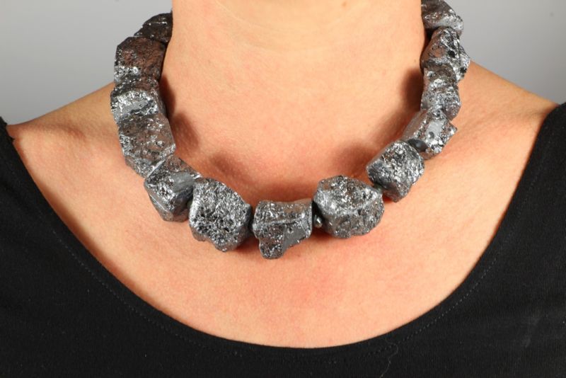 collier kort agaat electro plated