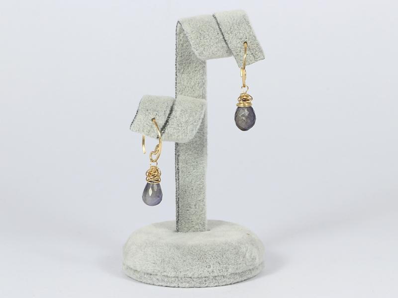 oorbellen goud met watersaffier brioletten