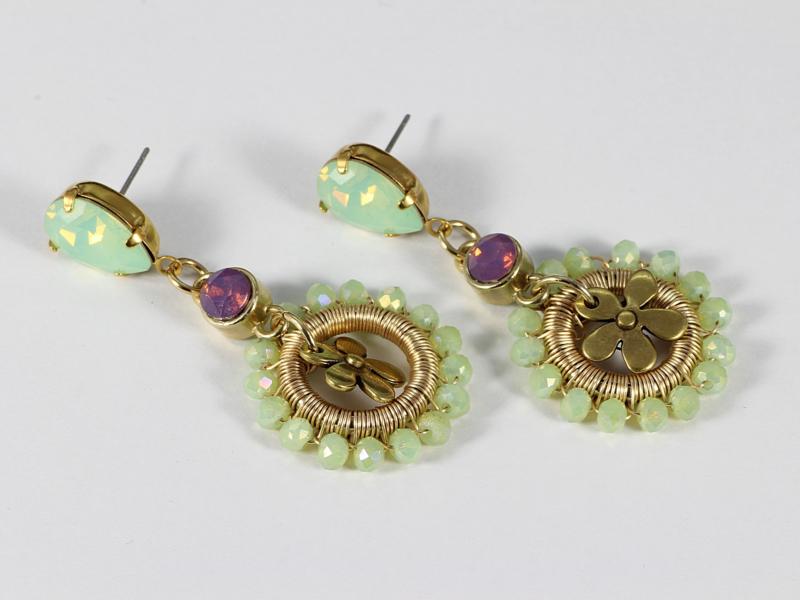 oorbellen goud opaal swarovski elements mintgroen kristal