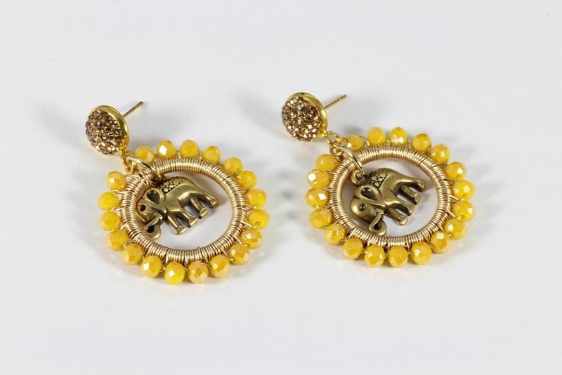 oorbellen goud lang creolen kristal geel olifant