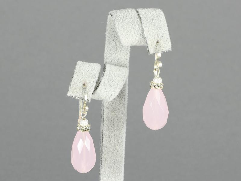 oorbellen met facet geslepen rozenkwarts en zilver