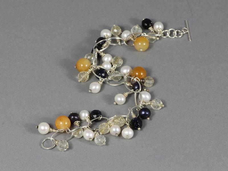 armband met edelsteen mix en parels in zilver
