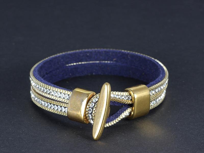 armband dubbel donkerblauw suède met kristal in goud