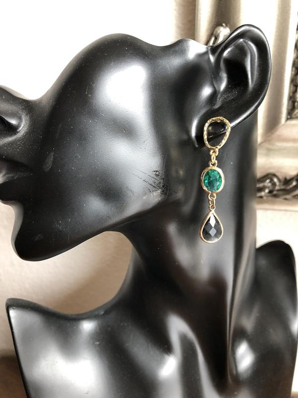 oorbellen goud groenblauw en grijs kristal