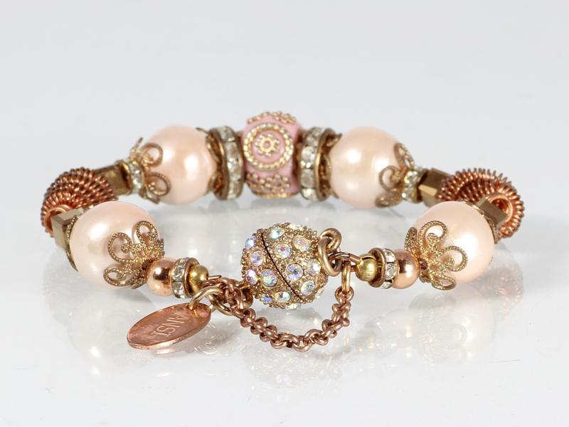 armband romantisch roze parel