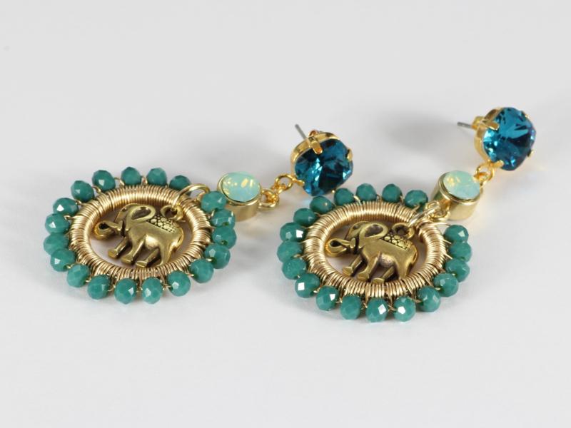 oorbellen lang goud kristal groen met olifant
