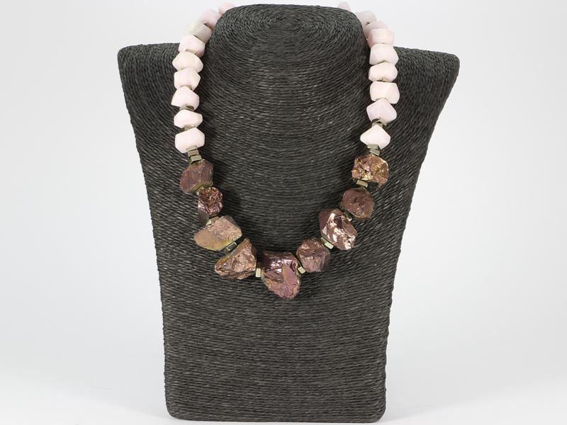 collier roze mangano calciet en titanium kwarts