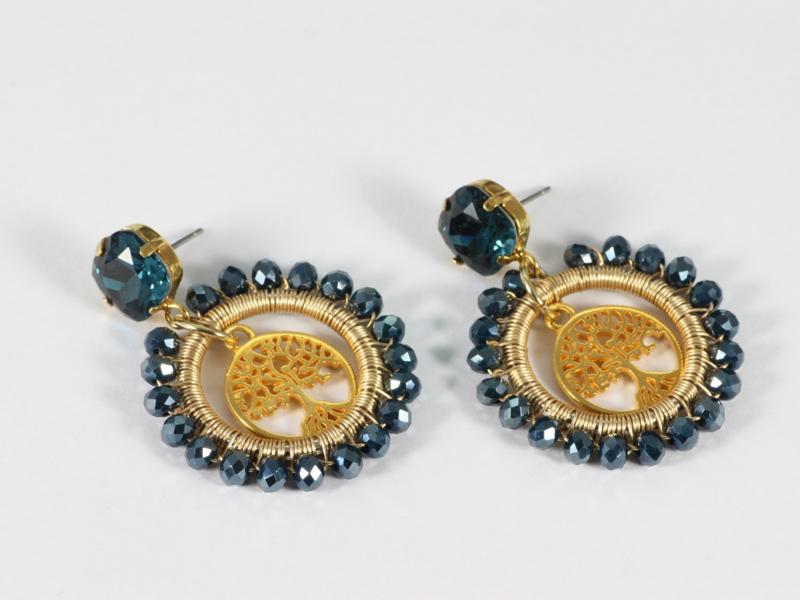 oorbellen goud creolen donkerblauw facet