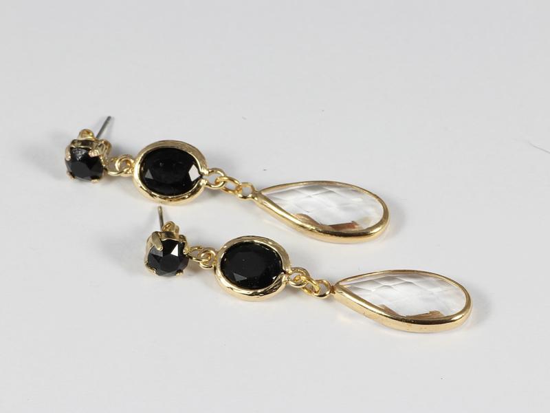 oorbellen lang goud met swarovski zwart