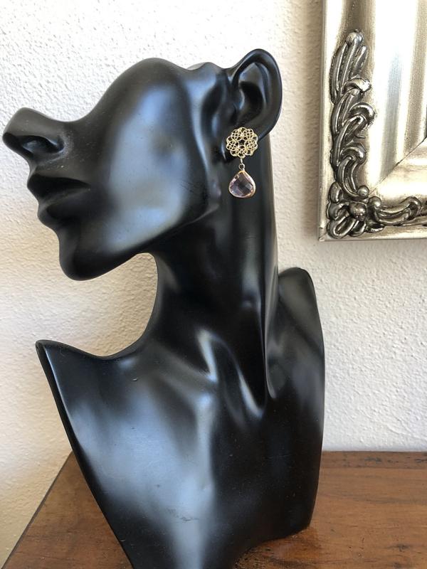 oorbellen kort goud met roze facet druppel