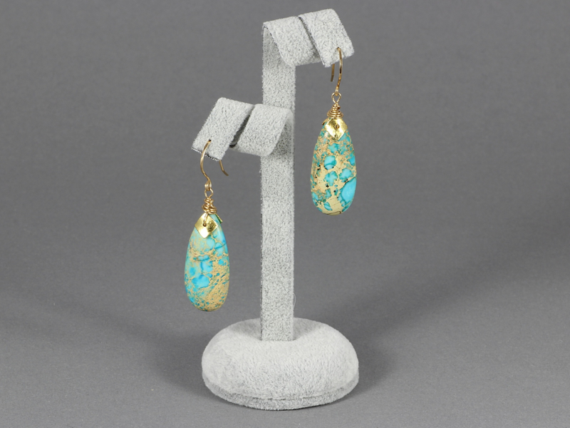 oorbellen lang goud met imperial jaspis druppel