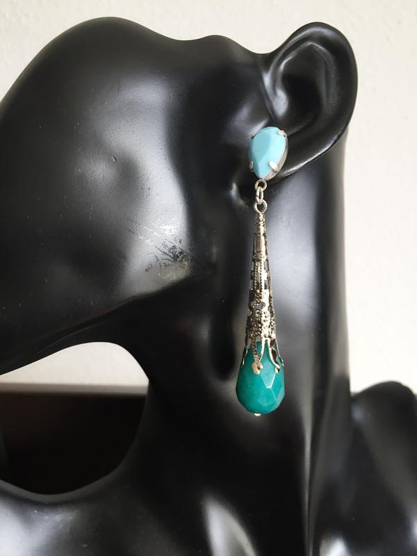 oorbellen XL fancy turquoise jade druppel