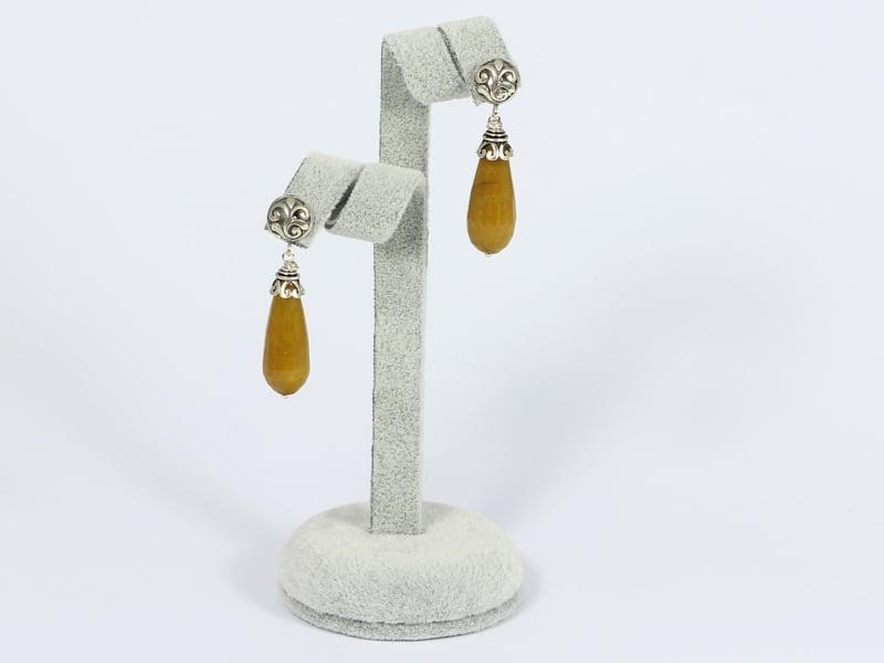 oorstekers zilver met bruine jade pegels