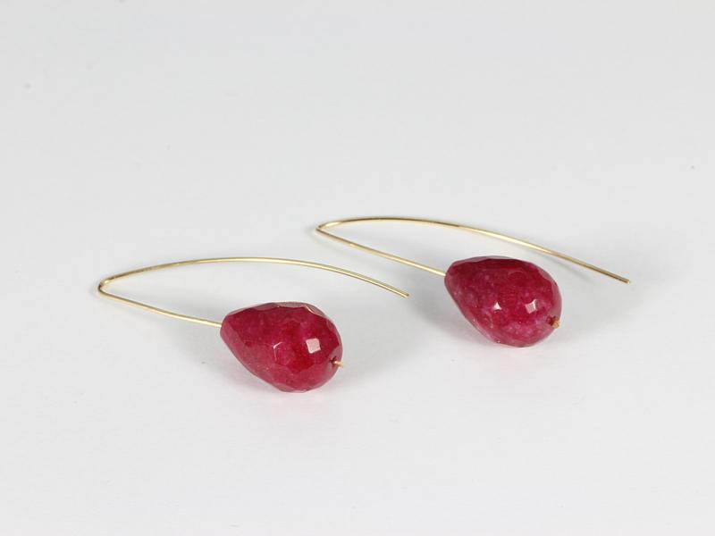 oorbellen exclusief met oorhaken goud en fuchsia roze jade
