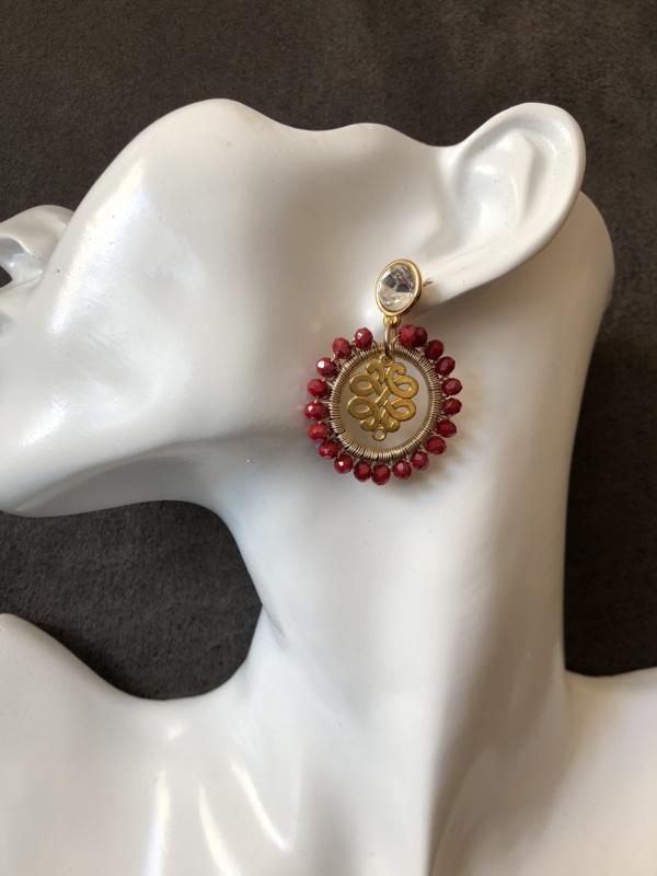 oorbellen oorstekers met swarovski elements en rood kristal