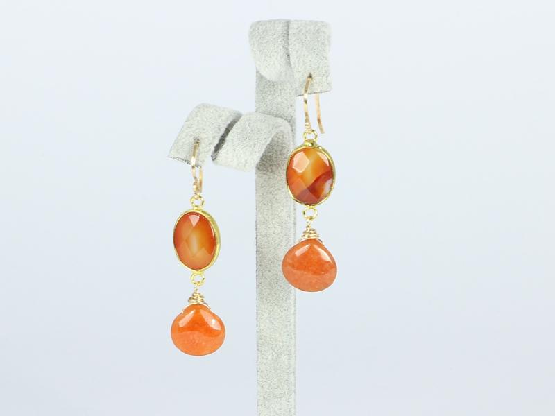 oorbellen goud met agaat en jade
