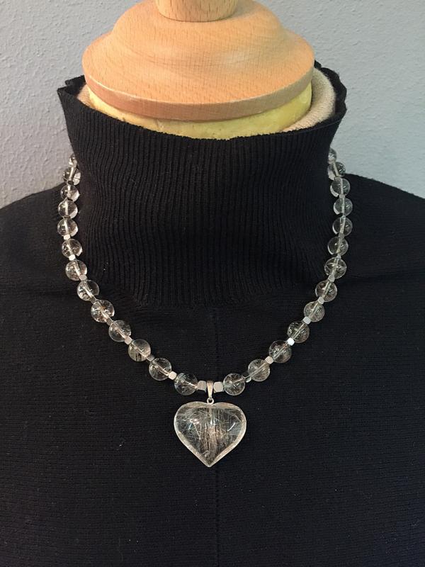 collier zilver met rutielkwarts en hematiet