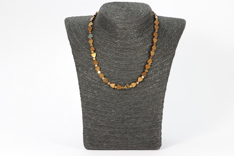 collier met bronzen hematiet hartjes