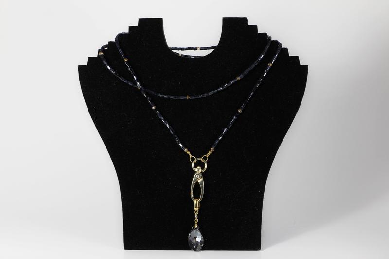 collier in goud met swarovski element druppel crystal silver night