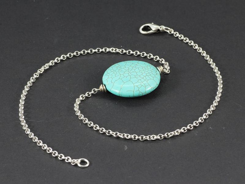 collier kort zilver met howliet turquoise