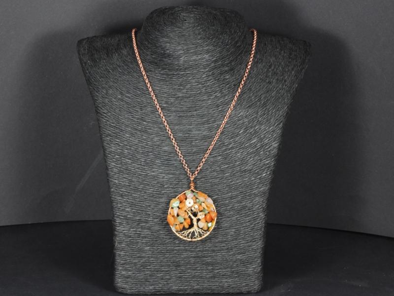 collier rose goldplated met tree of life aventurijn