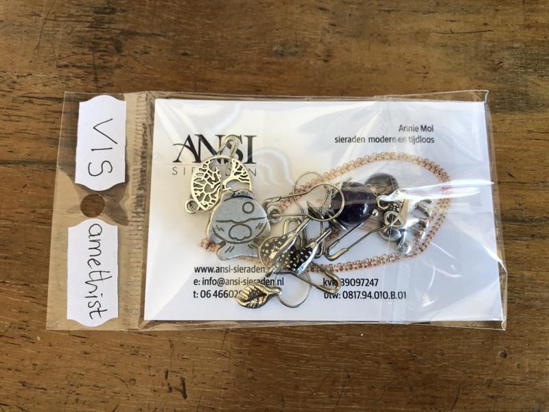 steekmarkeerders zilver met amethist - vis