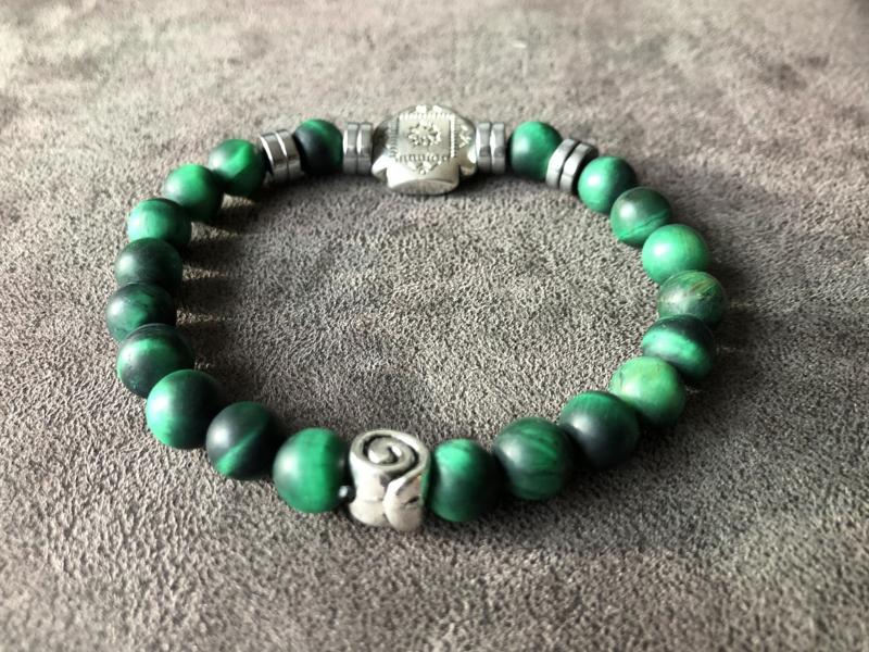 armband heren tijgeroog mat in groen | Armbanden voor heren