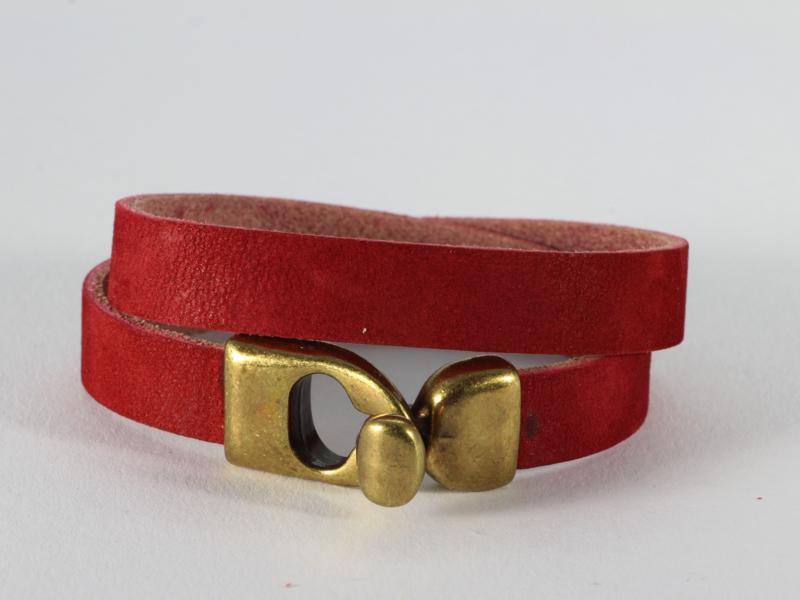 armband nubuckleer warm rood