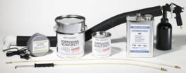 Set van spuitpistool, drukbeker, verwarmingsset, rechtuit-spuitlans, haakse spuitlans