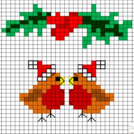 Gratis Borduurpatroon | Kerst - Roodborstjes
