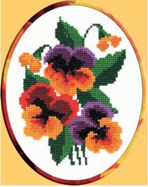 Borduurpakket Kruissteek | Bosje viooltjes - voorbedrukt stramien (PC-Studia)