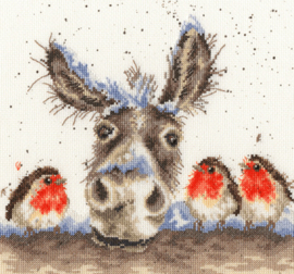 Borduurpakket Kruissteek | Ezel en vogeltjes in de sneeuw - (Christmas Donkey - Bothy Threads - Hanna Dale, Wrendale Designs)
