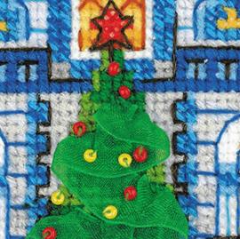 Borduurpakket Kruissteek | Huisje met kerstversiering (Riolis)