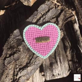Borduurpakket Mini | Hartje Love (oudroze en mint)