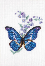 Borduurpakket Kruissteek | Vlinder en Jacobsladder (Polemonium and Butterfly - RTO)