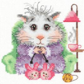 Borduurpakket Kruissteek | Hamster aan het breien (Chudo Igla)