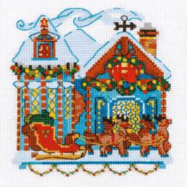Borduurpakket Kruissteek | Huisje met kerstversiering en elanden (Riolis)