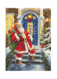 Borduurpakket Petit Point (halve kruissteek)   Kerstman in de sneeuw (Luca-S)