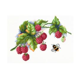 Borduurpakket Kruissteek   Bij met frambozen (Raspberries - Chudo Igla Magic Needle)