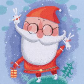 Borduurpakket Kruissteek | Kerstman met cadeautje (RTO)