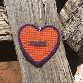 Borduurpakket Mini | Hartje Dream (oranje en paars)