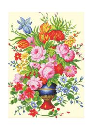 Borduurpakket Kruissteek | Vaas met bloemen - voorbedrukt stramien (Needleart World)