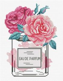 Borduurpakket Kruissteek | Rozen Eau de Parfum - voorbedrukt stramien