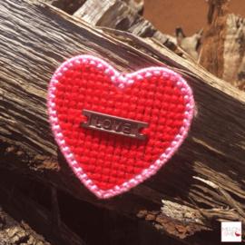 Borduurpakket Mini | Hartje Love (rood en roze)