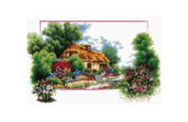 Borduurpakket Kruissteek | English Cottage Lane - voorbedrukt stramien (Needleart World)