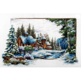 Borduurpakket Kruissteek | Winterlandschap- voorbedrukt stramien